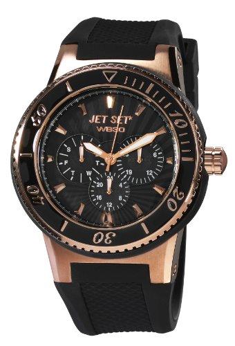 Jet Set J6444R-237 - Reloj analógico de cuarzo unisex, correa de caucho color negro