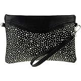 Girly HandBags New Faux Leather Flat Diamante Clutch Bag Shoulder Bag Vintage Women Evening Party