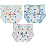 Square Brand Premium Quality Baby Joy Pack Of 3 , Printed Multicolor, Multisize, Padded Cushioned Muslin Double Cotton Thick Cloth Washable Reusable Padded Cushioned Diaper/Langot Nappies With Velcro Very Comfortable For Babies.