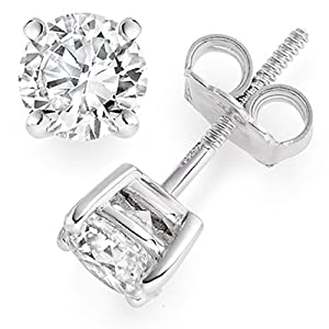 1.19 Carat E/VS1 Round Brilliant Certified Diamond Solitaire Stud Earrings in Platinum