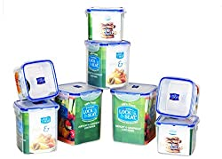 LOCK & SEAL AIRTIGHT SQUARE SET OF 8 CONTAINERS