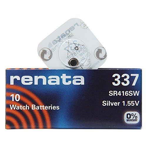 Renata 337 SR416SW 1 (Lot de 10) Argenté 1,55 V pour montre fabriqué en Suisse