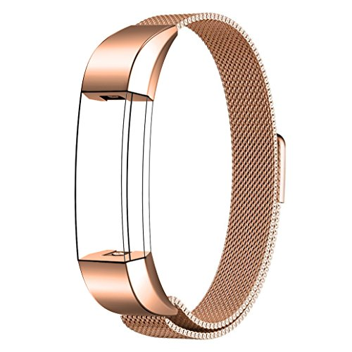 Fitbit Alta Bands Metal, Swees Milanese Loop Stainless Steel Replacement accessories Metal Small & Large Bands Band for Fitbit Alta, Rose Gold