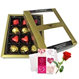 Mellow Treat Of Wrapped Chocolates With Love Card And Rose - Chocholik Luxury Chocolates