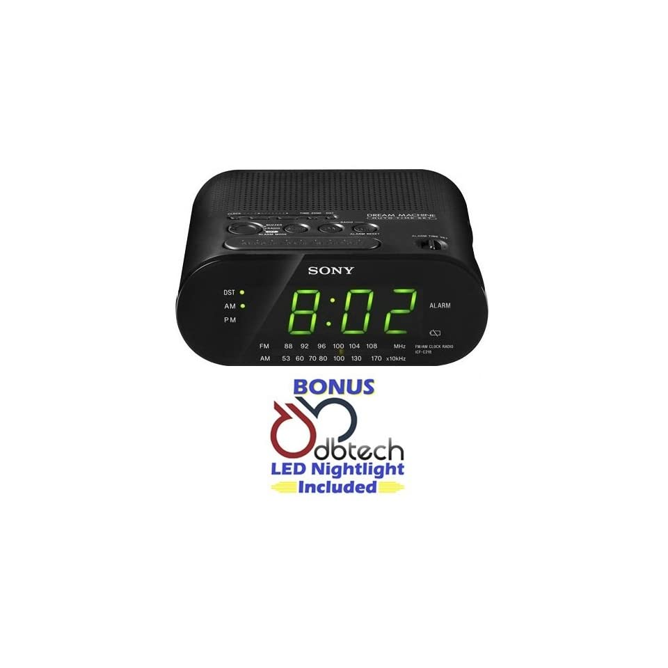Sony Compact AM/FM Alarm Clock Radio with Large LED Display, Extendable Snooze, & Built in Battery Back Up   Black *BONUS* DB Tech LED Nightlight Included