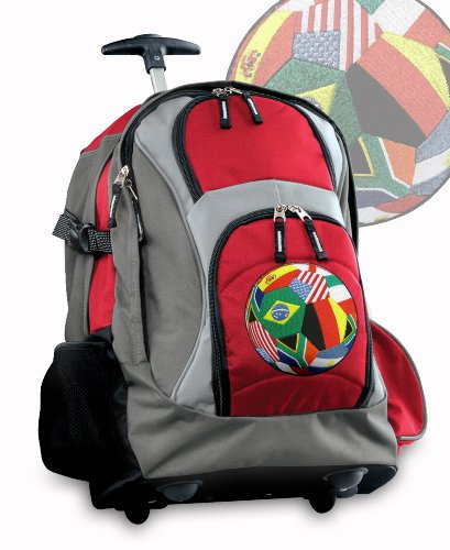 World Soccer Flag Ball Rolling Backpack Deluxe Red Soccer Design Backpacks Bags