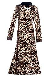 Justkartit Women's Lycra (Stretchable) Animal Printed & Golden Stone Work Burqa / Casual Wear Fashionable Cheetah Print Bukha / Latest Animal Printed & Stone Work Burkha (Latest Islamic Clothing Collection)