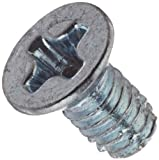"Steel Thread Cutting Screw, Zinc Plated, 82 Degree Flat Undercut Head, Phillips Drive, Type F, #2-56 Thread Size, 3/16"" Length (Pack of 100)"