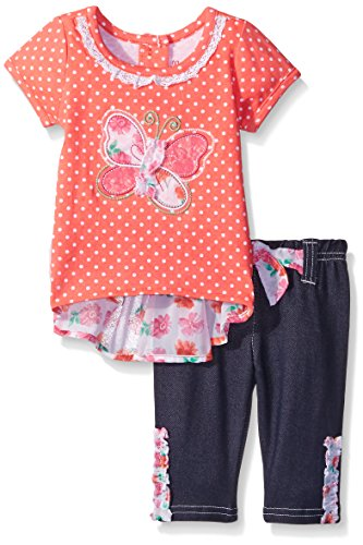 Nannette Little Girls 2 Piece Fashion Top With Printed Chiffon and Jegging, Coral, 12 Months