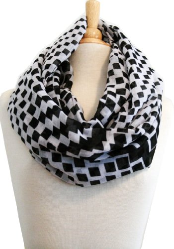 Infinity Scarf Classic Black & White Color Geometric Square Print - Stunning!