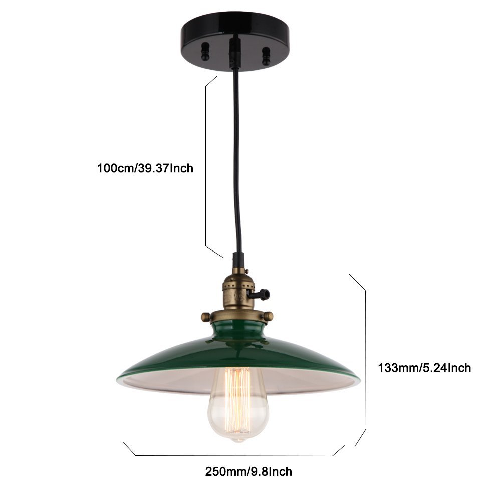 JEMMY HO Metal Warehouse Pendant Lighting Dia 10 Inch Mini Vintage Industrial Barn Pendant Lamp (Green) 2