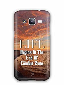 YuBingo Life Begins at the end of Comfort Zone Designer Mobile Case Back Cover for Samsung Galaxy J2