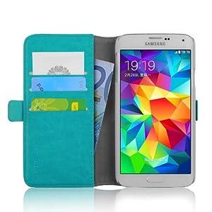 JAMMYLIZARD | Luxuriös Wallet Ledertasche Hülle für Samsung Galaxy S5, TÜRKIS
