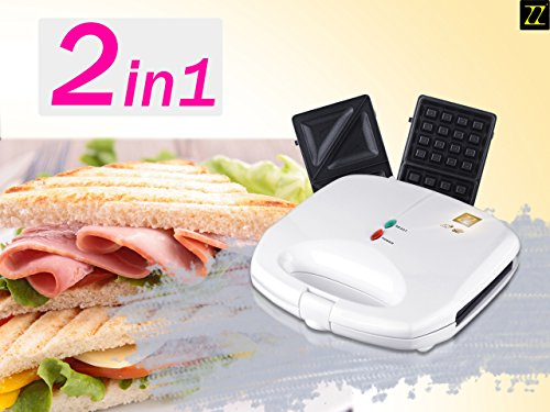 ZZ S6142B-W 2 in 1 Waffle and Sandwich Maker, White (2 In 1 Waffle Maker compare prices)