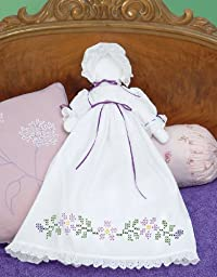 Jack Dempsey Stamped White Pillowcase Doll Kit, Starflowers by Jack Dempsey
