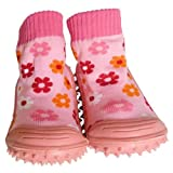C2BB Baby girls Socks shoes with grippy rubber Small pink flower Size 23