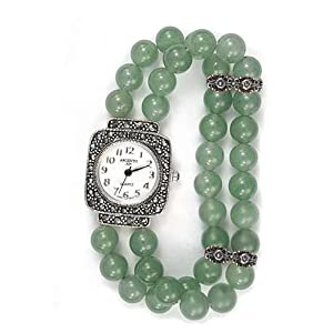 argento marcasite and green aventurine beaded sterling silver stretch watch bracelet gift boxed
