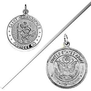 Saint Christopher Double Sided Us Army Medal