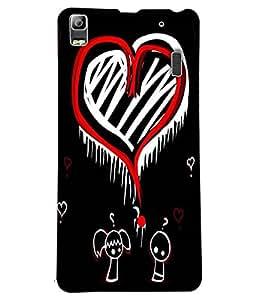 Fuson Orange White Heart Pattern Back Case Cover for LENOVO K3 NOTE - D3789