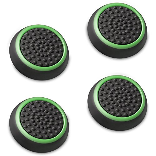 Fosmon [Set of 4] Analog Stick Joystick Controller Performance Thumb Grips for PS4 | PS3 | Xbox ONE | Xbox ONE S | Xbox 360 | Wii U (Black & Green) (Xbox One Controller Stick Covers compare prices)