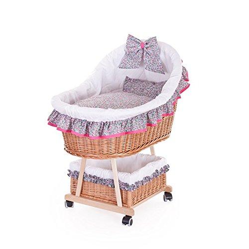 Kinderwagen aus Weide, Kinderwagen mit einem Halbdach, Rollkinderkorb mit Baby – Zubehör
