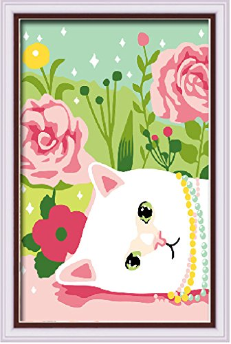 Diy oil painting, paint by number kits for kids - cute kitsten 20X30cm. - 1