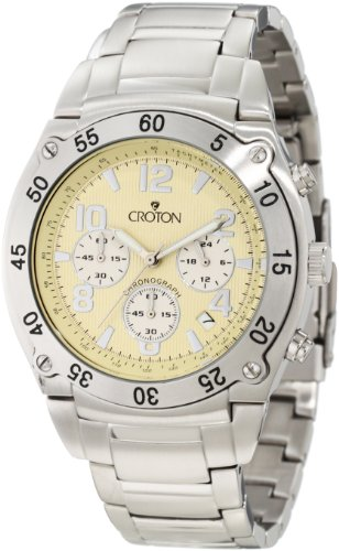 Croton Men's CC311310SSPA Chronomaster Chronograph Yellow Textured Dial Stainless Steel Watch