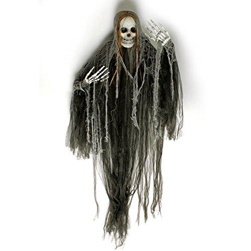 Schwarze Todesfee mit Totenkopf Deko 150x90 cm - Perfekte Grusel Hexen Totenkopf Dekoration für Ihre Halloween Mottoparty