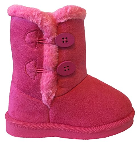 NEW Babys Girls Infant Kids Toddler Flat Winter Fur Boots Pom Pom Shoes Sz 2-8 (4 Toddler, FuchsiaCutie A)
