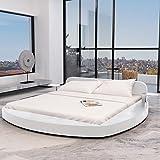 vidaXL Kunstlederbett modernes Rundbett Weiß mit zwei Tischen 180x200 cm