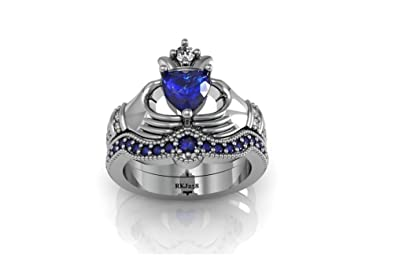 Claddagh Engagement Matching Band Heart Solitaire 3.24Ct Round Brilliant Cut Simulated White Diamond Blue Sapphires 925 Sterling Silver Wedding Bridal Anniversary Ring Set,All Size available