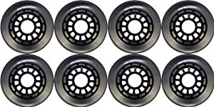 80mm 85a Black Clear Inline Outdoor Wheels 8-Pack by TGM Skateboards