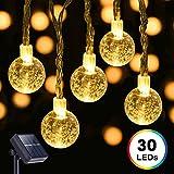 Solar Fairy Lights, DecorNova 19.7 Feet 30 LED Crystal Ball Globe String Lights for Outdoor Garden Patio Christmas Holiday Parties Weddings, Warm White