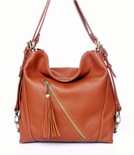 hot sale online d7cc0 ba2fe Handmade Genuine Cow Leather 100 2 Way Bag Vintage Style Brown Color