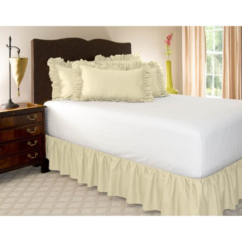 "Queen Bone Ruffled Bed Skirt With 21"" Drop front-699598"