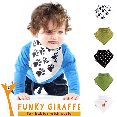 Giraffe Set Of 5 Funky Giraffe Bandana Bibs front-848889
