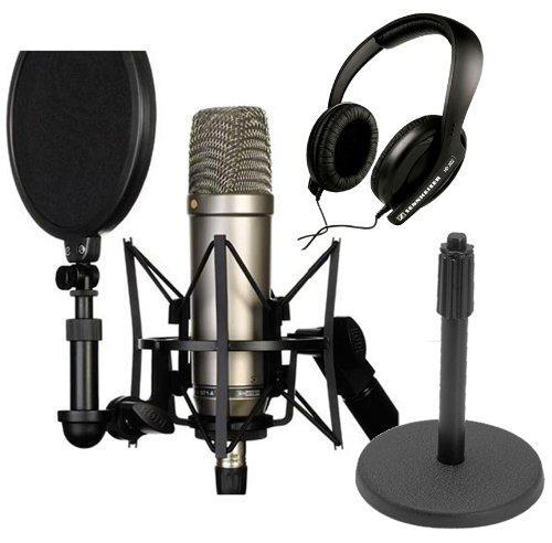 Rode Nt1-A Cardioid Condenser Microphone Recording Package With Sennheiser Hd 202-Ii Closed-Back Around-The-Ear Studio Headphones And Round Base Microphone Desk Stand-Black