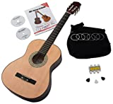 Classic Cantabile AS-851 3/4 Classical Guitar Starter Set (Complete Beginner's Set including Acoustic Guitar, Gig Bag, Replacement Strings, Book with CD and DVD, 3x Plectrums and Pitch Pipe)