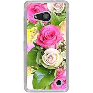 Casotec Rose Flowers Design 2D Hard Back Case Cover for Microsoft Lumia 550 - Clear