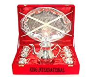 King International Brass Diwali Gifting, Corporate Gifting Silver Kettle,6 Mugs & 1 Tray With Velvet Box, Set Of 8 Pieces