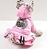 PET CONDO Pet Cat Dog Pink Hooded Heart Layer PET CONDO Pet Prinecess Dress Skirt Small Dog Clothes XS