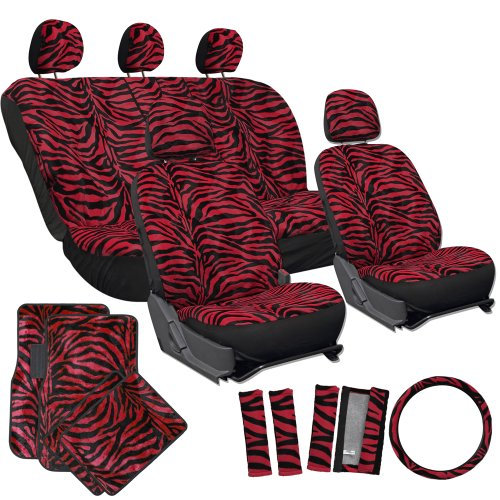 OxGord 21pc Set of Zebra Print Car Seat Covers w/Deluxe Velour Animal Carpet Floor Mats, Steering Wheel Cover & Shoulder Pads - Airbag Compatible - Front Low Back Buckets - 50/50 or 60/40 Rear Split Bench - Universal Fit for Cars, Truck, SUV, or Van, Red (Car Girl Seat Covers compare prices)