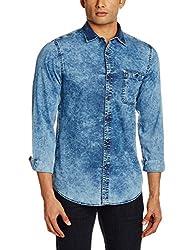 Adamo London Men's Casual Shirt (SHTADSP16014_Medium_Dark Blue)