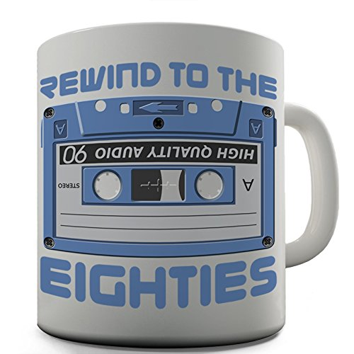 Rewind To The Eighties C90 Cassette Ceramic Mug. Dishwasher and Microwave safe.
