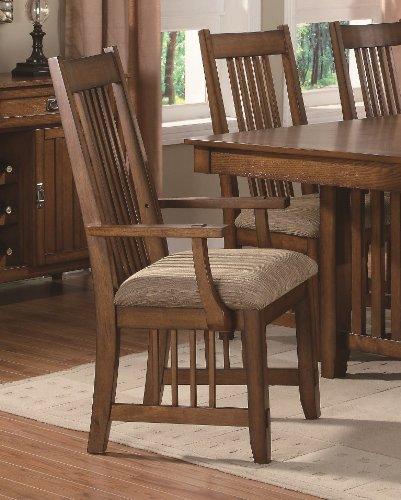 Set of 2 Dining Arm Chairs Mission Style Warm Medium Oak Finish