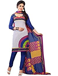 Clickedia Women's Straight Cut Leon Crape White & Blue Salwar Suit - Dress Material