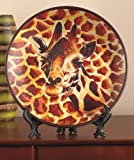 Giraffe Safari Animal Print Decorative Plate with Easel Decor Majestic African Wild Tribal Home Accent Charger Black Brown Shelf Mantle Table Top Decoration