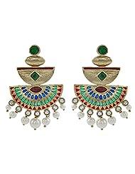 The Jewelbox Mehendi Finish Red Green Meenakari Kundan Pearl Antique Earring
