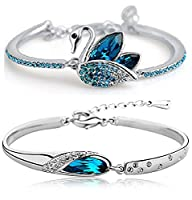 Shining Diva Fashion Blue Crystal Kaada Bangle Set For Girls