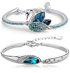 Shining Diva Fashion Blue Crystal Kaada Bangle Set For Girls